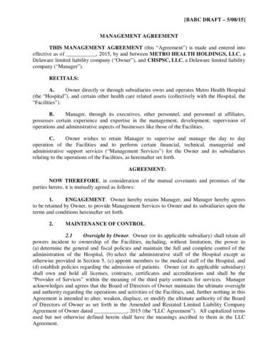 hospital management agreement sample