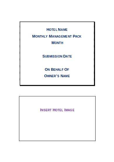 hotel monthly management report template