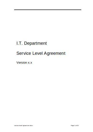 it department service level agreement sample