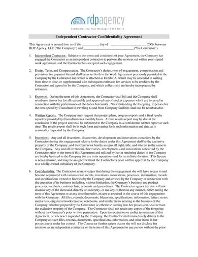 independent contractor confidentiality agreement template
