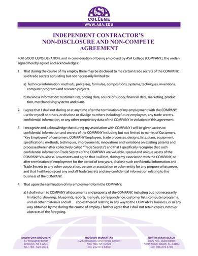 independent contractors non disclosure agreement sample