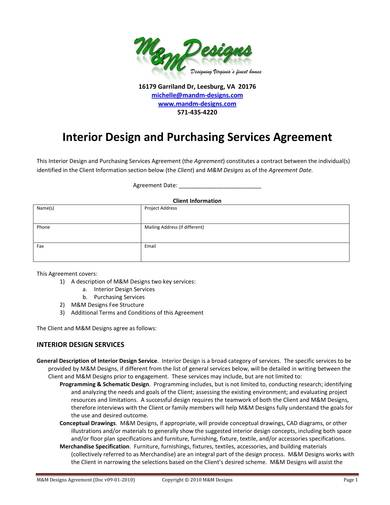 Free 11 Interior Design Contract Samples In Pdf Ms Word Google Docs Apple Pages