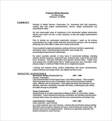 lead carpenter sample resume