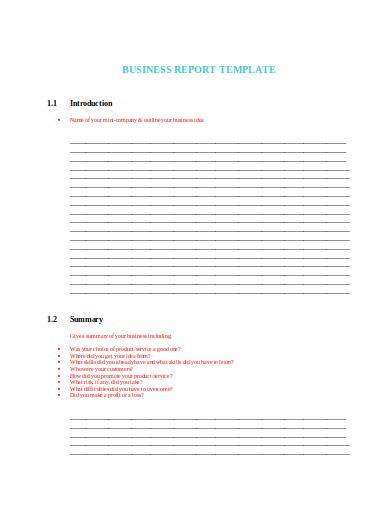 local business report template