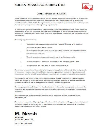 manufacturing quality policy statement