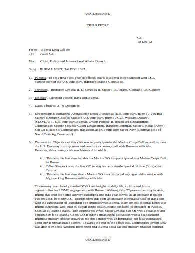 marine corps trip report sample