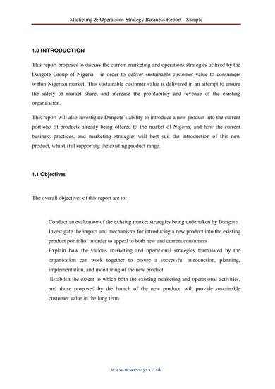 marketing operations strategy business report sample