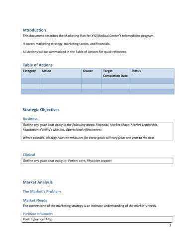 medical center marketing plan sample