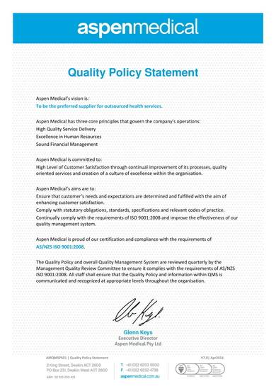 medical quality policy statement sample