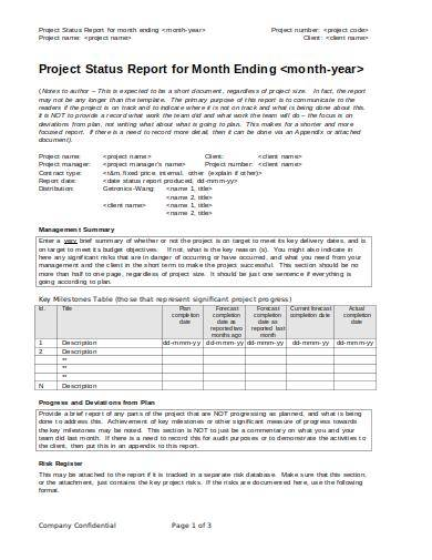 monthly management project status report templatetemplate