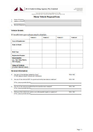 motor vehicle proposal form