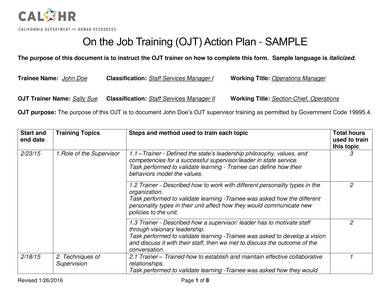 on the job training action plan sample