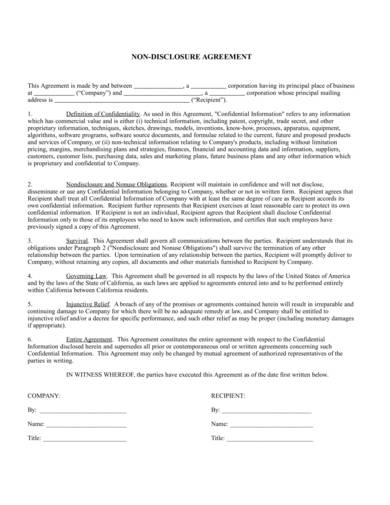 one way confidentiality agreement template 1