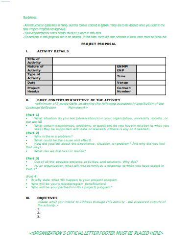 organization project proposal outline sample