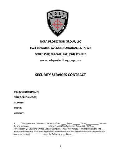 printabe security guard contract sample