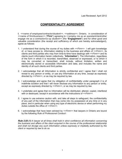 printable confidentiality agreement sample 1