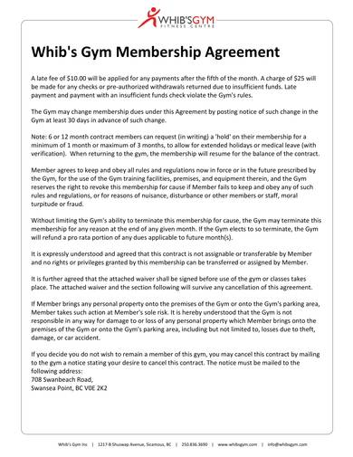 printable gym membership contract and form