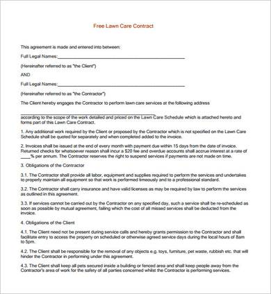 printable lawn care contract template