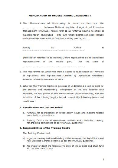 printable memorandum of understanding sample