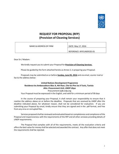 provision of cleaning services request for proposal