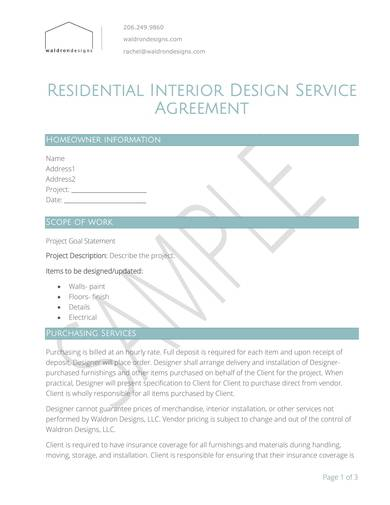 residential interior design contract sample