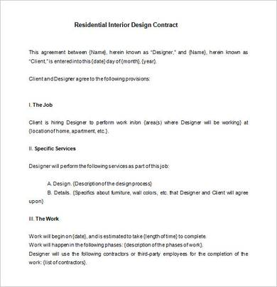 Free 9 Interior Design Contract Samples In Pdf Word