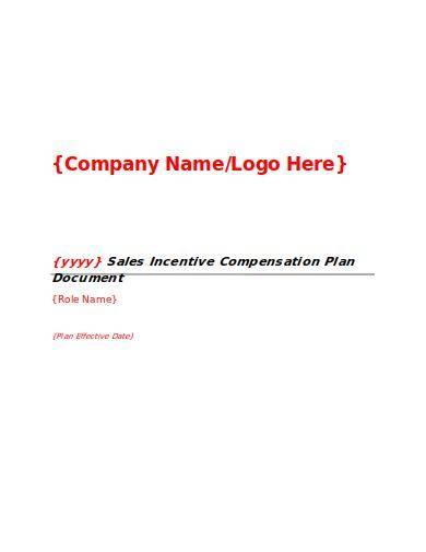 sales incentive compensation plan sample template