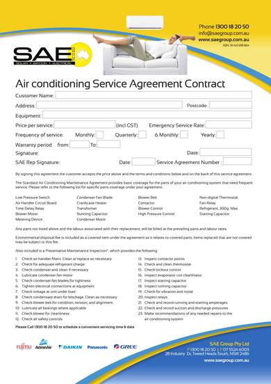 sample air conditioning service agreement contract
