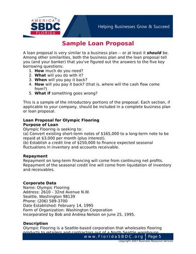 sample business loan proposal for bank 1