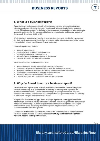 sample business report format