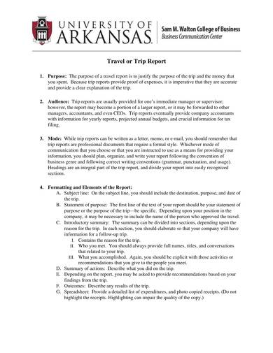 sample business travel or trip report 1
