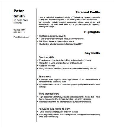 sample carpentry graduate resume