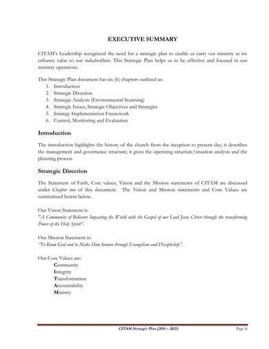 sample church ministries strategic plan