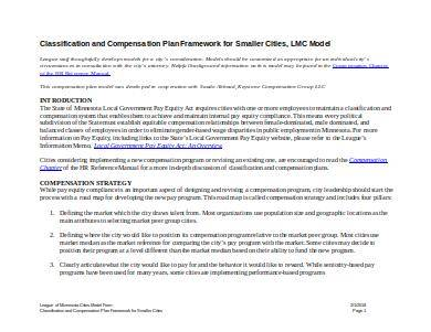 sample compensation plan for small cities