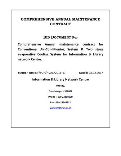 sample comprehensive annual maintenance contract