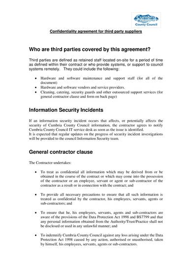 sample confidentiality agreement for third party suppliers