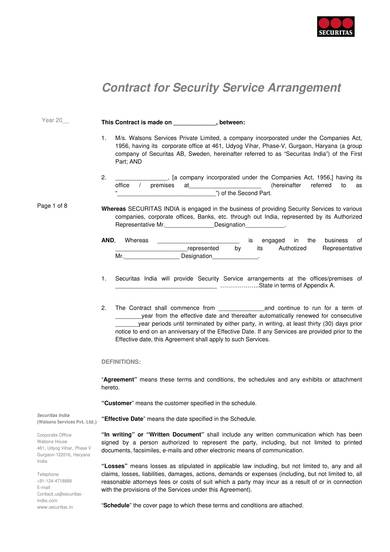 sample contract for security service arrangement