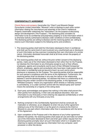 sample design company confidentiality agreement 1