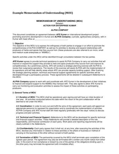 sample enterprise memorandum of understanding 1