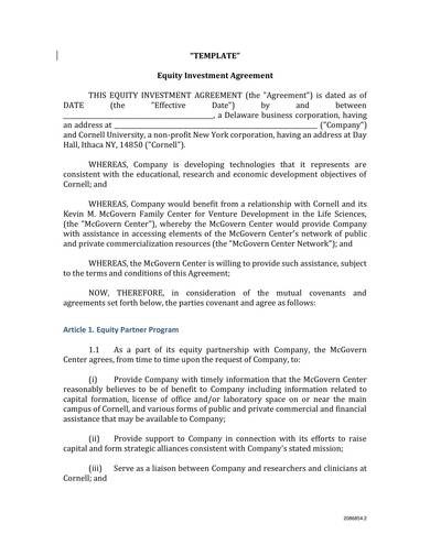 sample equity investment contract