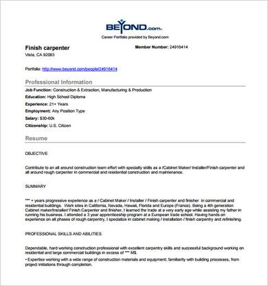 sample finish carpenter resume