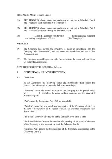 sample first draft investment contract