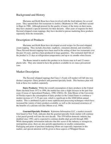 sample food business plan and proposal