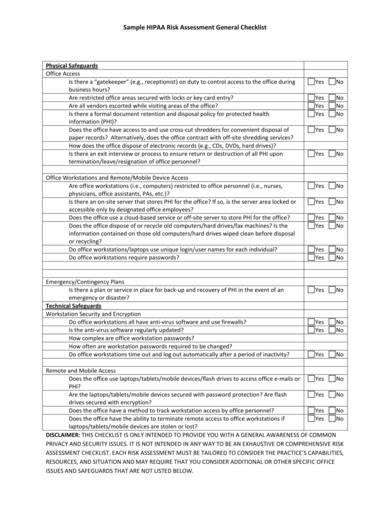 sample hipaa risk analysis general checklist