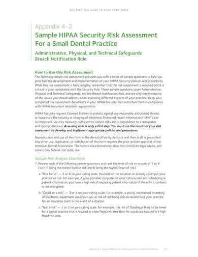 sample hipaa security risk analysis for small dental practice