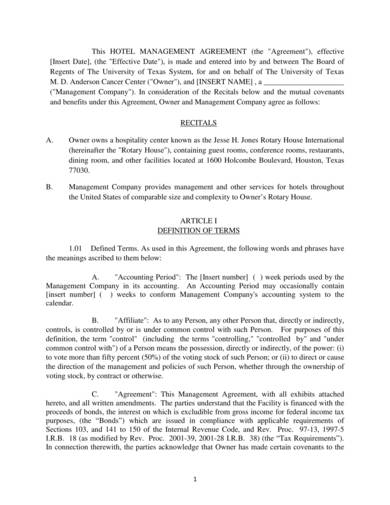 sample hotel management agreement