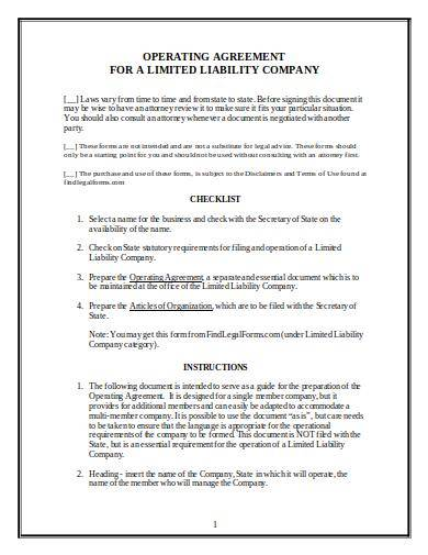 sample llc operating agreement and checklist
