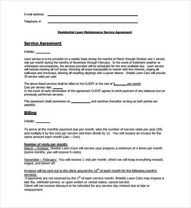 sample lawn service contract template