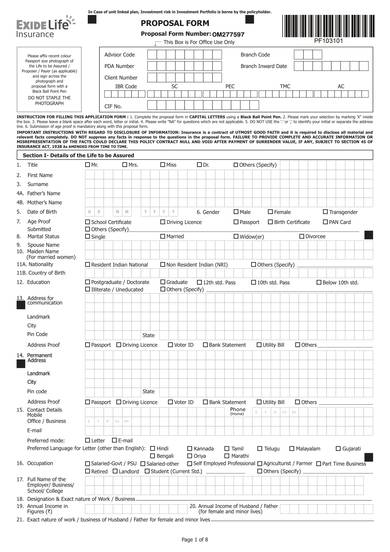 sample life insurance proposal form