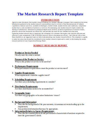 sample market research report template